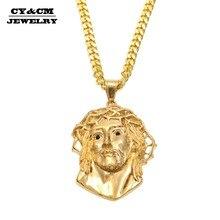 CY&CM Men Women Gold Jesus Christ Head Pendant Stainless Steel Gold Color Jesus Face Hip hop Necklace Chain Fashion Punk Jewelry