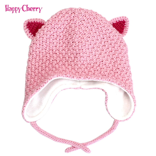 Warm Winter Baby Caps Handmade Cap Bear Ear Crochet Caps Beanie Knitted Hat  Christmas Gift Infant Hat Pink Black Cotton Caps 36ab59ef1bf