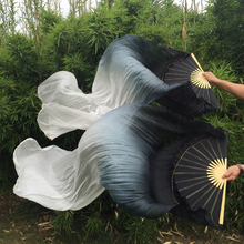 unique hot-selling Black/White mixed Belly Dancing 100% Real Silk Fan Veils dyed color long Dancing Fans 180cm Lenglth