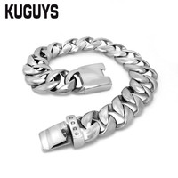 Mens Stainless Steel Bracelet Trendy Jewelry Simplicity Link Bracelets Silver Color Cool Hiphop Punk Accessories 22