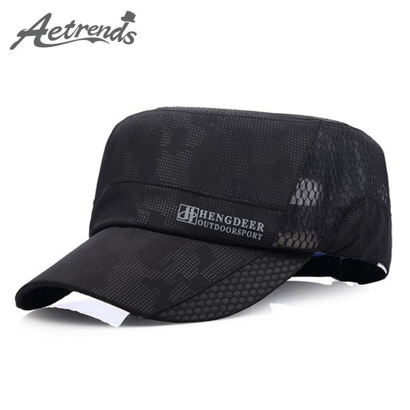 [AETRENDS] 2017 New Summer Caps Men's Flat Baseball Cap Breathable Quick Dry Gorras Bone Snapback Hats for Men Z-5150 aetrue winter knitted hat beanie men scarf skullies beanies winter hats for women men caps gorras bonnet mask brand hats 2018