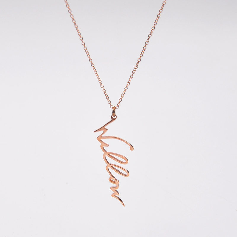 цена на Rose Gold Signature Necklace Vertical Custom 925 Solid Silver Handwritten Name Pendent Personalized Gift