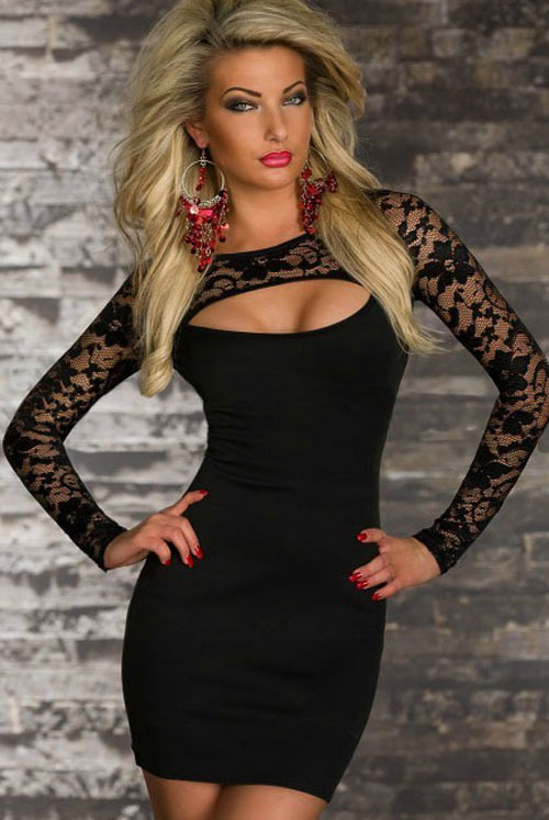 New Women Lady Sexy Summer Lace Long Sleeve Dress Patchwork Color Club Clubwear Dresses Plus size  sexy dress party dress NO338