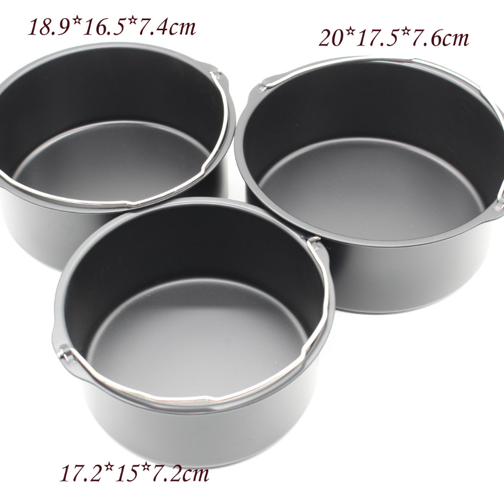 6-inch Cake Barrel Non Stick Kitchen Utensil Large Capacity With Handle Easy Clean Pizza Pan Air Fryer Use Baking Tin Sturdy Steel Cooking Basket DIY Bread