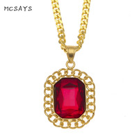MCSAYS Hip Hop Necklace Big Red Stone Rhinestone Pendant Stainless Steel Necklaces 70cm Cuban Chain Iced