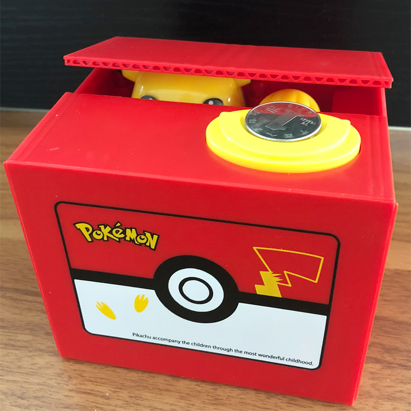 Brand New Pokemon Pikachu Electronic Plastic Money Box Steal Coin Piggy Bank Money Safe Box For Kids Gift Desk Toy novelty gag toys automated cat steal coin bank piggy bank moneybox money saving box digital coin jar alcancia de gato kids gifts