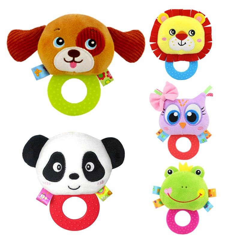 Baby Plush Animal Rattles Stuffed Toy Hand Grasp Teethers Rip And Bite Cute Handbell Pleasant Ring Newborn Baby Boys Girls Gift