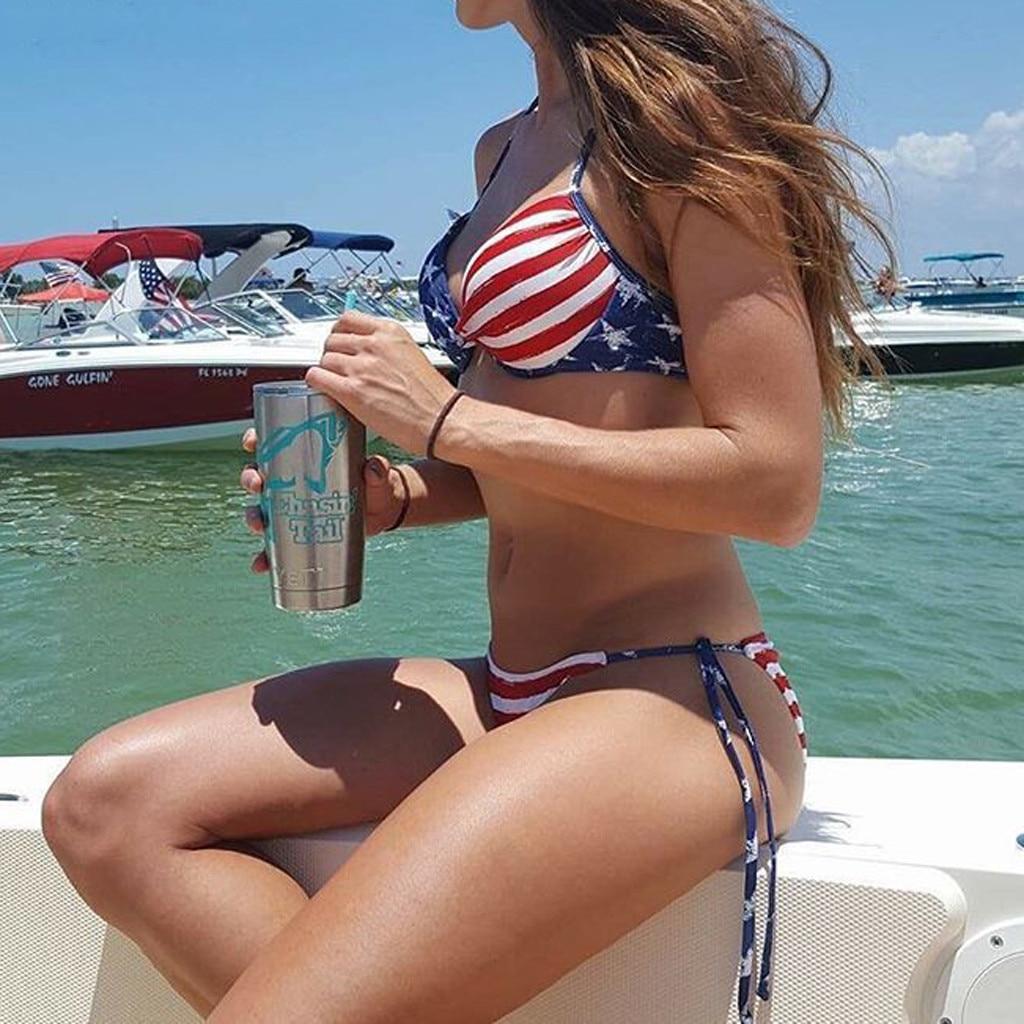 Women American Flag The Fourth Of July Two Pieces Bikini Swimwear Beachwear Bodysuit Swimsuit Bathing Suit Female Monokini