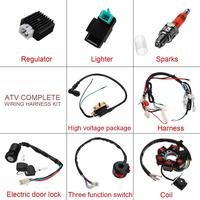 Universal 5 Pin 50CC 125CC Mini ATV Complete Wiring Harness For 4 Stroke CDI STATOR 6 Coil Ignition System