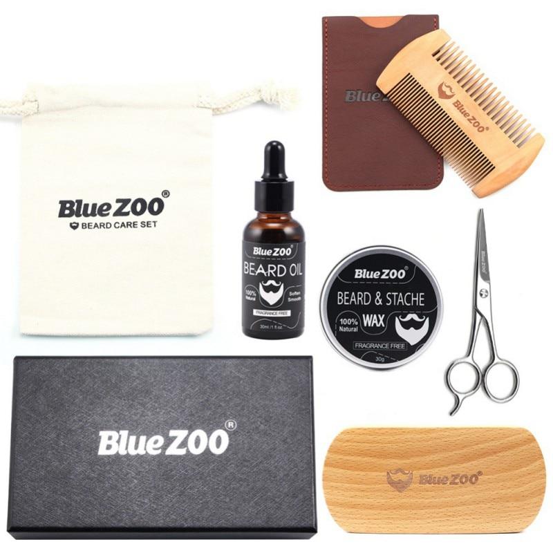 New Arrival 7 Pcs Men Moustache Cream Nutrition Beard Oil Beard Scissors Kit Box Moustache Comb Brush with Storage Bag Kits 1