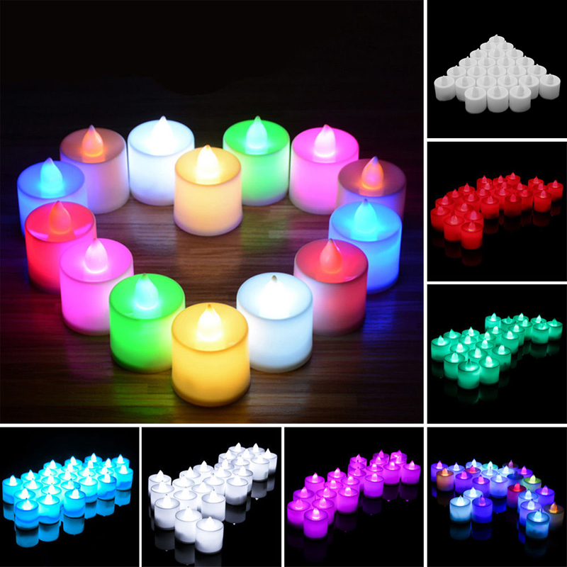 Fantasy New Year 24 Flickering Light Tea Candles Flameless Battery LED Tealight Wedding Christmas Decoration