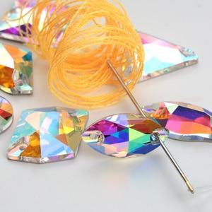Image 2 - Großhandel! 8 arten AAAAA Kristall AB Farbe Goldene Basis Nähen Auf Strass Perlen, nähen Auf Steinen Spacer tasten für Bekleidung Schmuck