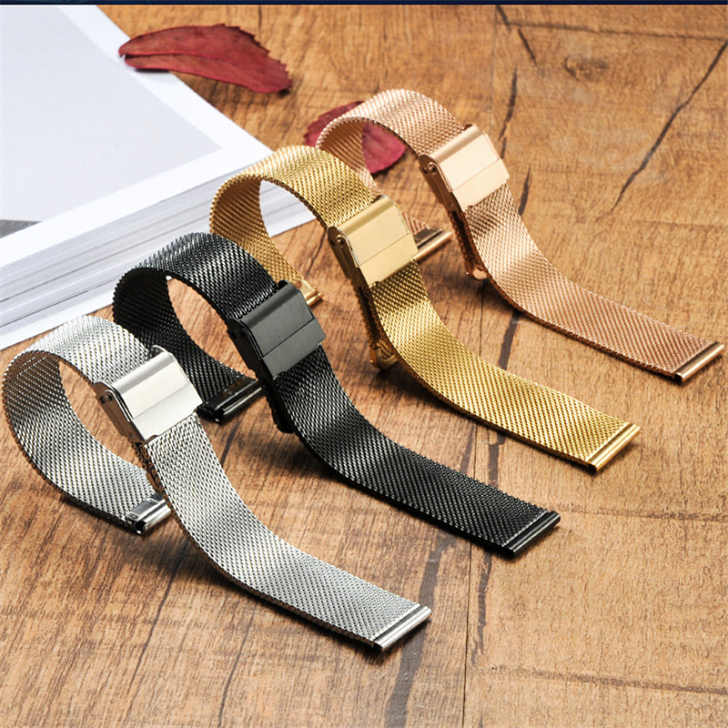 Stainless Steel Band For Nato Strap 12/14/16/17mm Milanese Loop Watch Strap 18mm 20mm 22mm Watch Band For DW Metal Buckle Bands image