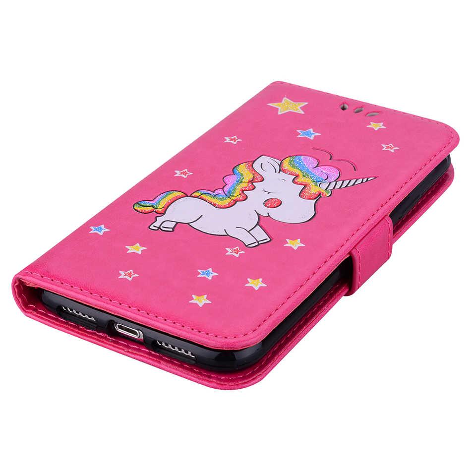 Caja del teléfono para Samsung Galaxy J2 Pro 2018 J3 primer J4 J5 J6 J7 Perx V 2017 cubierta de cuero unicornio casos Grand Prime Pro B124