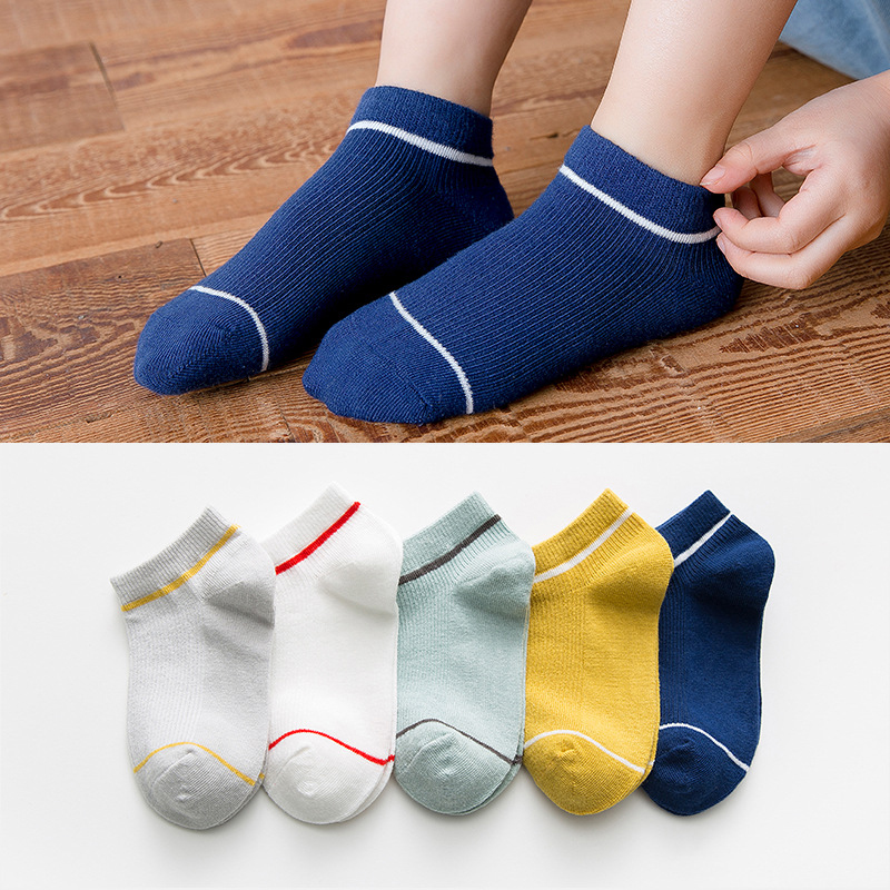 5 Pairs Kids Socks Boys Striped Sock for School Children Fashion Sports Elastic Socks Spring Autumn Summer Breathable Soft Sock 4