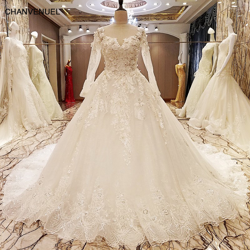 All Lace Wedding Dress: LS70776 Elegant Lace Wedding Dress Long Sleeves Ball Gown