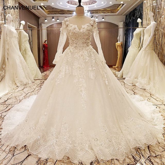 Ls70776 Elegant Lace Wedding Dress Long Sleeves Ball Gown