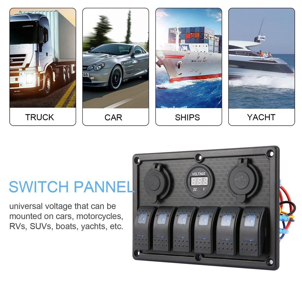 5Pin две лампы 6 Gang кулисный переключатель Управление Панель гнездо прикуривателя светодиодный свет автоматические выключатели для автомоби...