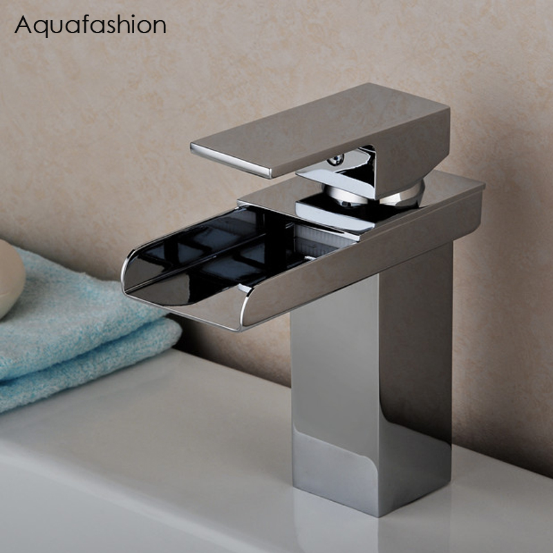 Single Lever Handle Black Bathroom Faucet Waterfall Lavatory Wash Basin  Faucet Hot And Cold Water Bathroom