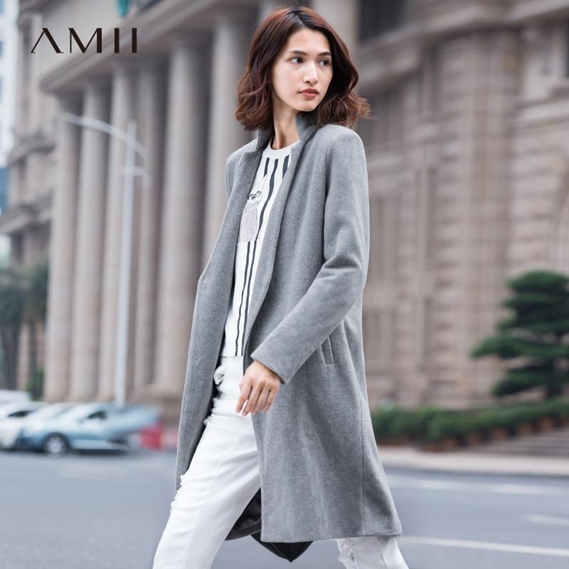 Amii Casual Women Woolen Coat 2017 Winter Asymmetric Zipper V Neck Female Wool Blends