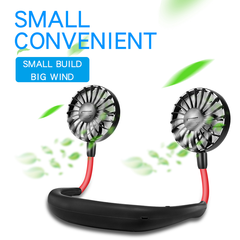 Rechargeable Battery  USB Portable Fan Hand Neck Fan Mini Portable Small Sports +desk Fan 3 Gears Usb Air Conditioner Cooler