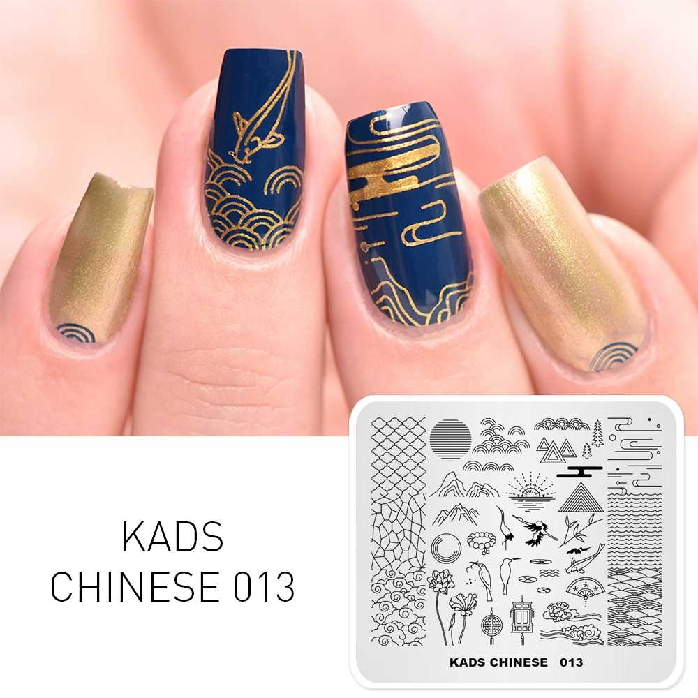KADS Chinese 013 style Bird & fan chinese design stamping plate for plates manicure art stencil nail printing stamping template