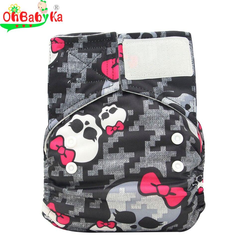 Ohbabyka Reusable Hook & Loop Cloth Diapers Designer Printed Suede Cloth Baby Nappies with Hook and Loop Fastener Tape 10 Colors