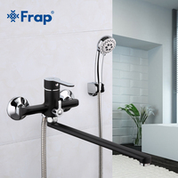 Frap 1 Set 340mm Outlet Pipe Bath Shower Faucet Brass Body Surface Spray Painting Black Shower