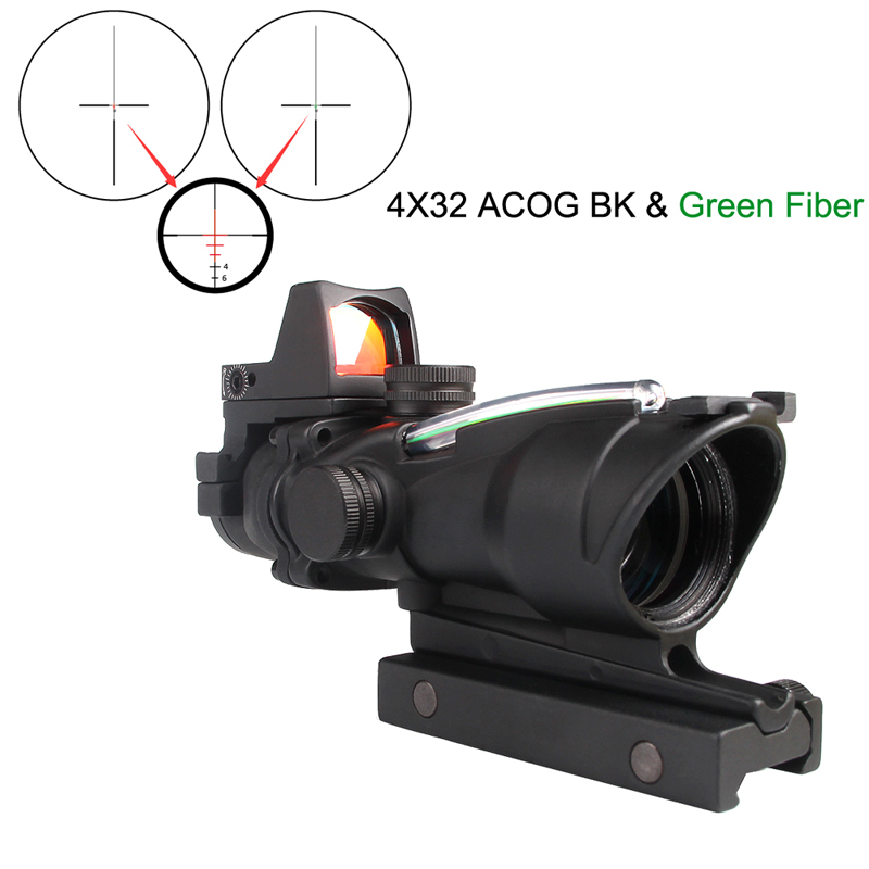Tactical Riflescope 4X32 Rifle Scope W/Real Red Green Fiber Mini Red Dot Sight For Airsoft Hunting Shooting Rifle 6-0058Tactical Riflescope 4X32 Rifle Scope W/Real Red Green Fiber Mini Red Dot Sight For Airsoft Hunting Shooting Rifle 6-0058