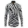 2017 Новых Людей Прибытия Зебра линии Моды Рубашки С Длинным Рукавом Мужчины Повседневная марка clothing Рубашки Высокого Качества camisa masculina