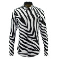 2017 New Arrival Men Zebra line Fashion Shirts Long Sleeve Men Casual brand clothing Shirt High Quality camisa masculina