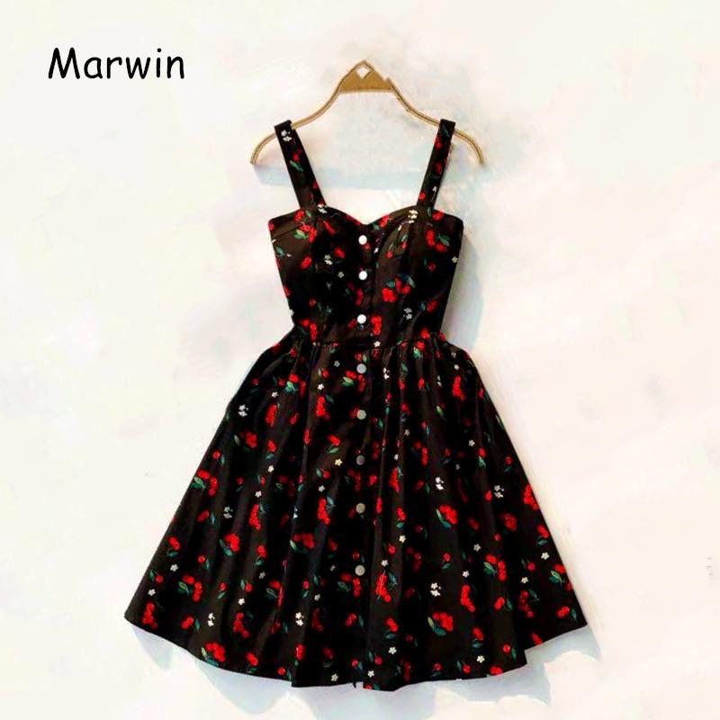 Marwin 2019 New-Coming Summer Women Spaghetti Strap Print Floral Sleeveless Empire Beach Dresses High Street Style