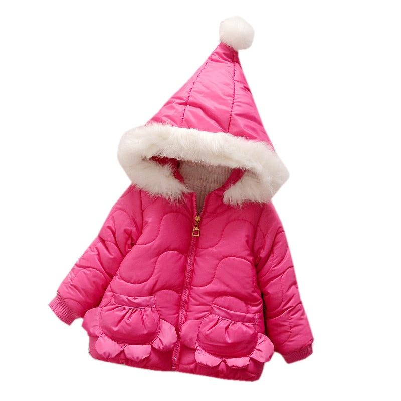 Sweet Baby Girls Thicken Faux Fur Coat Toddler Infant Kids Children Flower Pin Winter Outerwear Coat