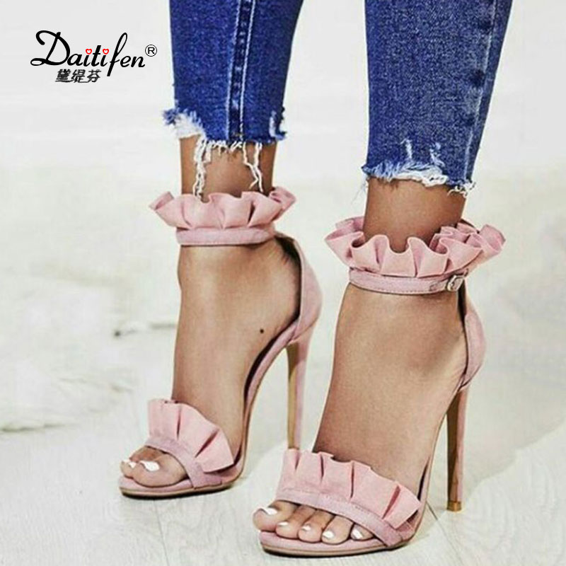 Daitifen Women Sandals Summer Pleated Ladies Stiletto High Heels Sandals Sexy Open Toe Wedding Shoes Summer Party Sandals Pink