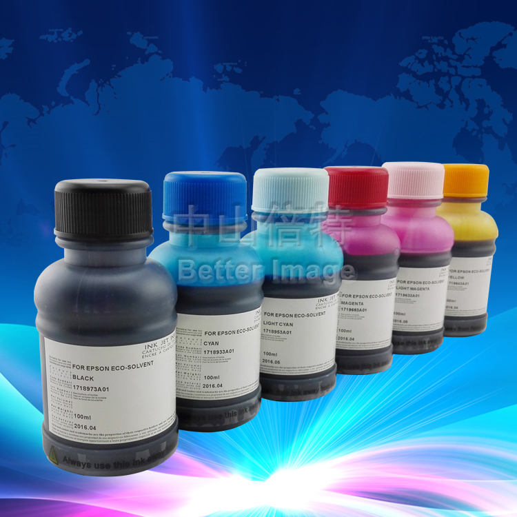Universal eco-solvent  Ink for EP desktop printer especially for Photo 1390,6C*100ML,6PCS 10ML syringes with blunt-end needls free shipping 6 colors eco solvent ink for epson stylus photo t50 printer ink