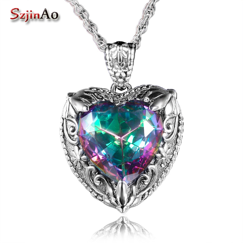Szjinao Vintage Viking Charms Heart Shape Love 925 Sterling-Silver-Jewelry Rainbow Topaz Necklaces & Pendant For Women Gift