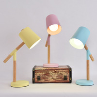 Nordic design table lamp indoor home deco wood table lamp Colorful Lampshades Bedroom Reading room Study lamp lampe de table