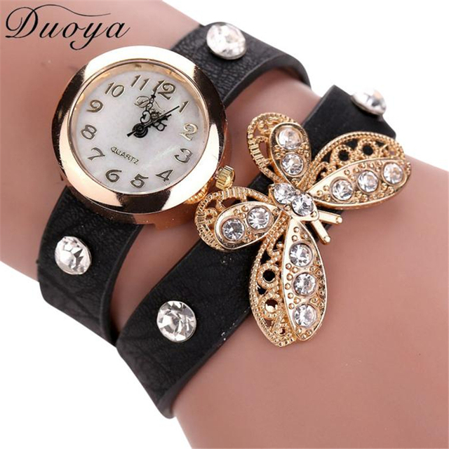 2018 Hot sale Watch Women luxury Butterfly Leather strap Casual Bracelet Watch W