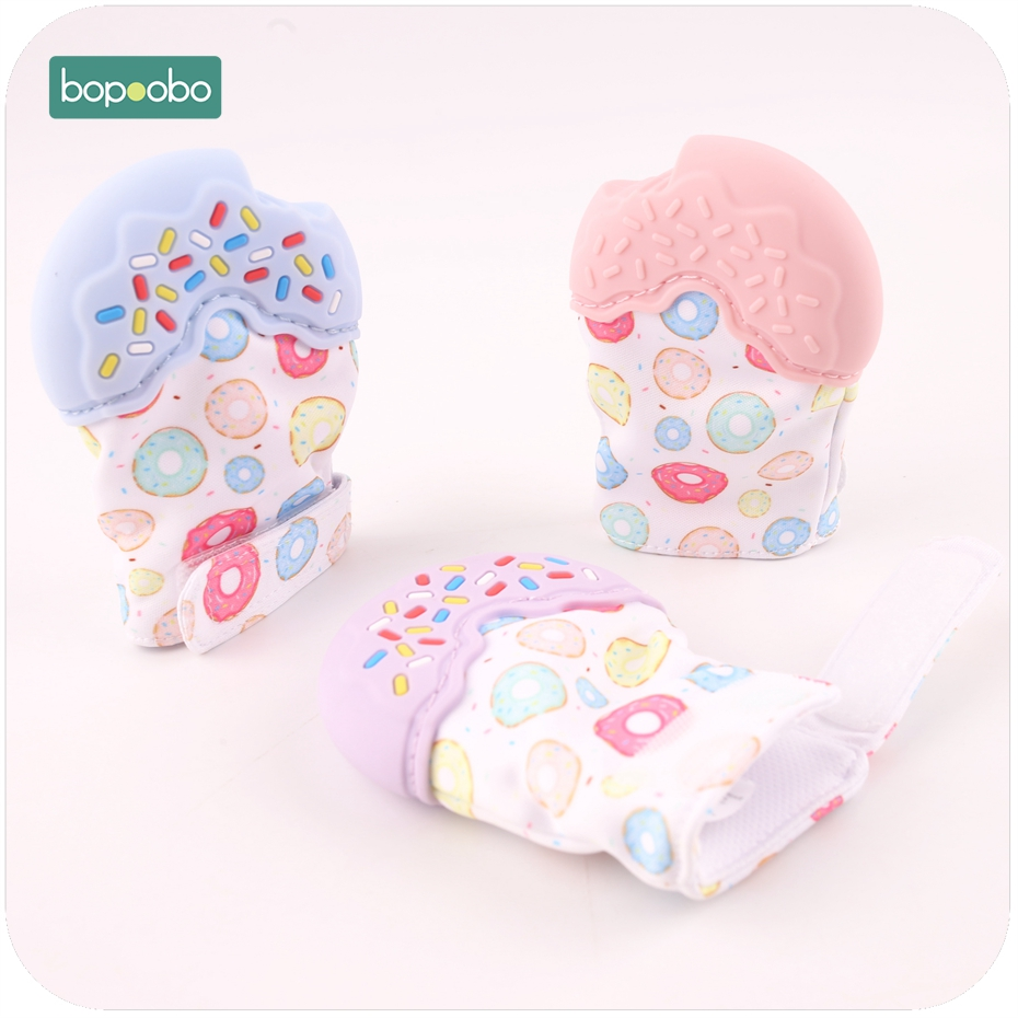 Bobobo 5pc Silicone Donuts Golves Baby Teether Nursing Accessories Soft Breathable Fabric Colorful Visually Silicone Teether