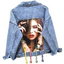 2020 spring autumn new fashion jeans coat women personality beading patch loose printed denim jacket