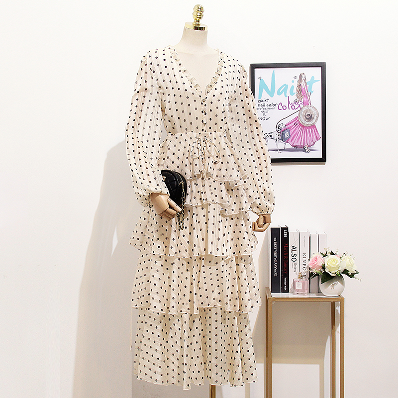 À Mode Dot couche Picture Manches Longues Gâteau Maxi Chic V Robes Impression As Col Sexy Polka Show Femmes Longue Oshangchaopin cou Multi wf5qxFfS