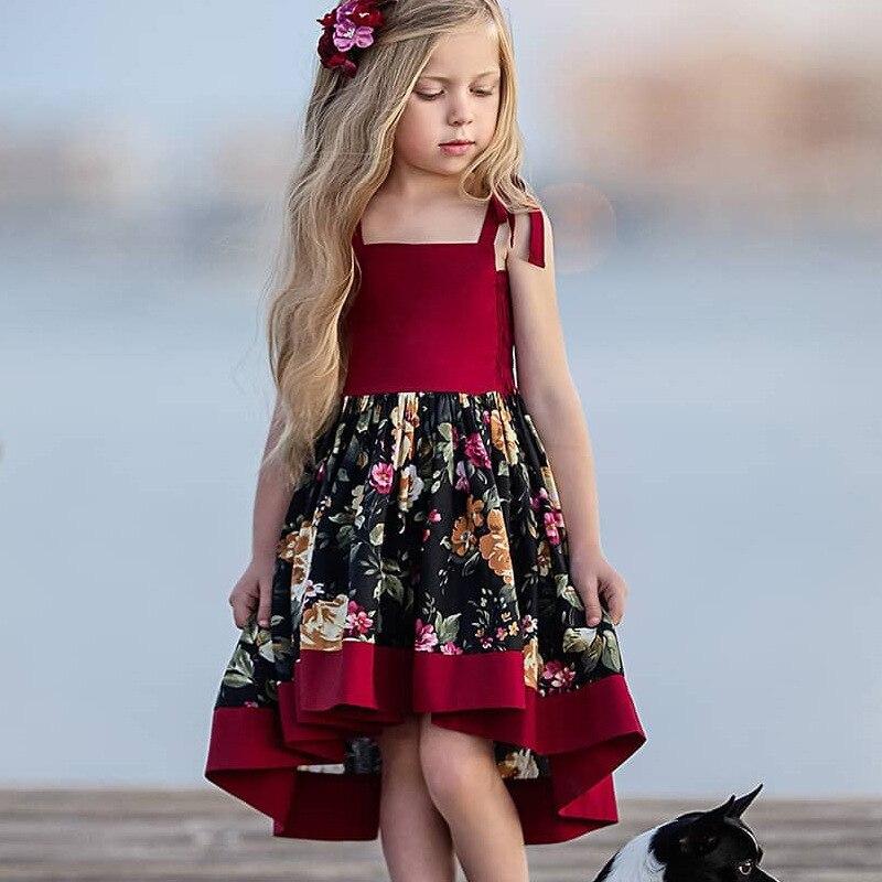 Бордовые Платья принцессы асимметричное вечернее платье с цветочным рисунком для девочек; летнее платье для девочек; костюм для девочек