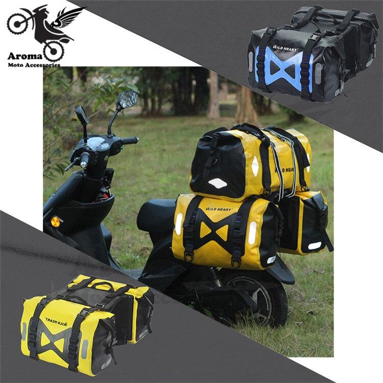 1 paire grande taille bleu jaune scooter pièces étanche moto rcycle sacoche bagages poche voyage moto queue sacs moto rbike côté sac