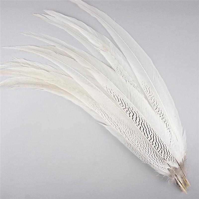 10-80CM 4-32 Pollici Argento Naturale del Fagiano Coda di Piume FAI DA TE Decorazioni di Nozze della signora amherst bianco argento piume di pollo plume