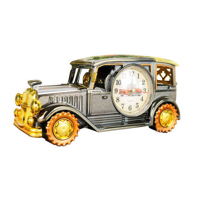 Classic Car Design Clock Alarm Clock Include Pen Pot Creative for Home Decoration Living Room Bar desk Quartz Clock color box