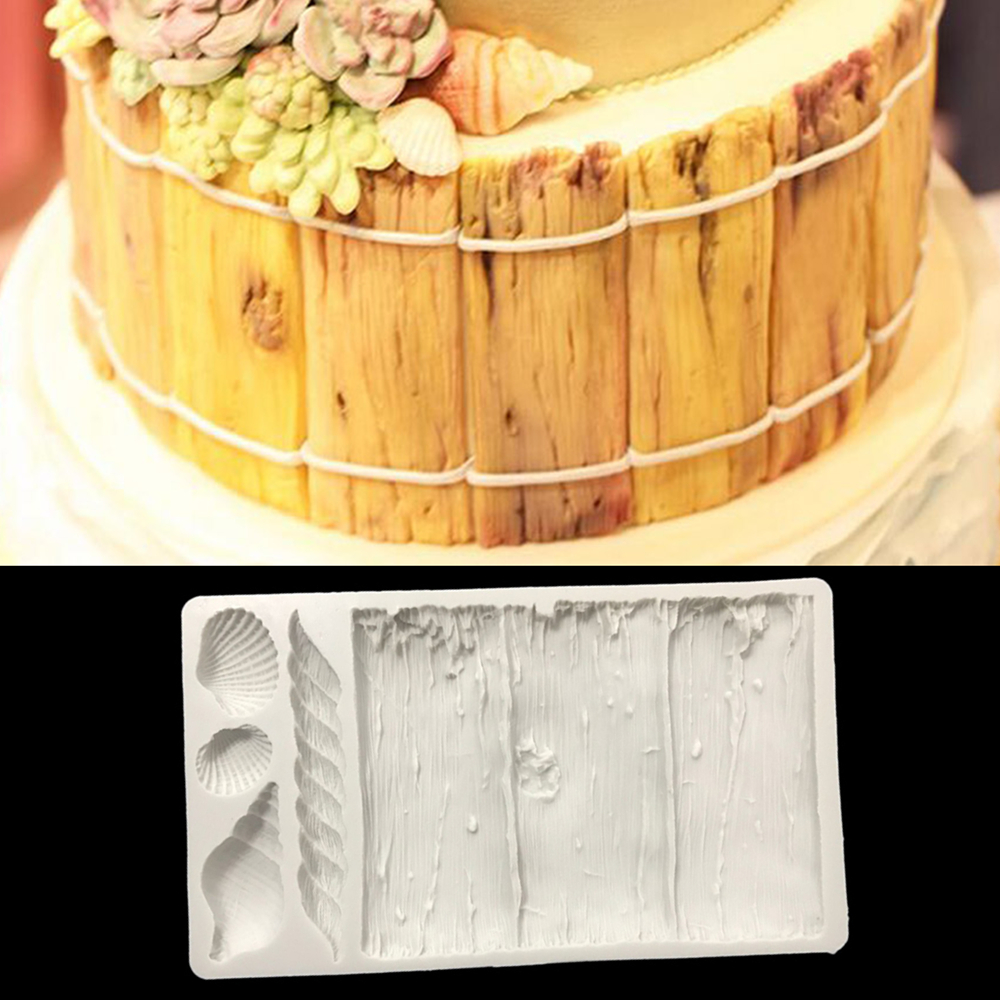 Floating Wood Fondant Cake Mold Candy Cookies Silicone Molds Pastry Chocolate Biscuits Mould Baking Decorating Tools Clay