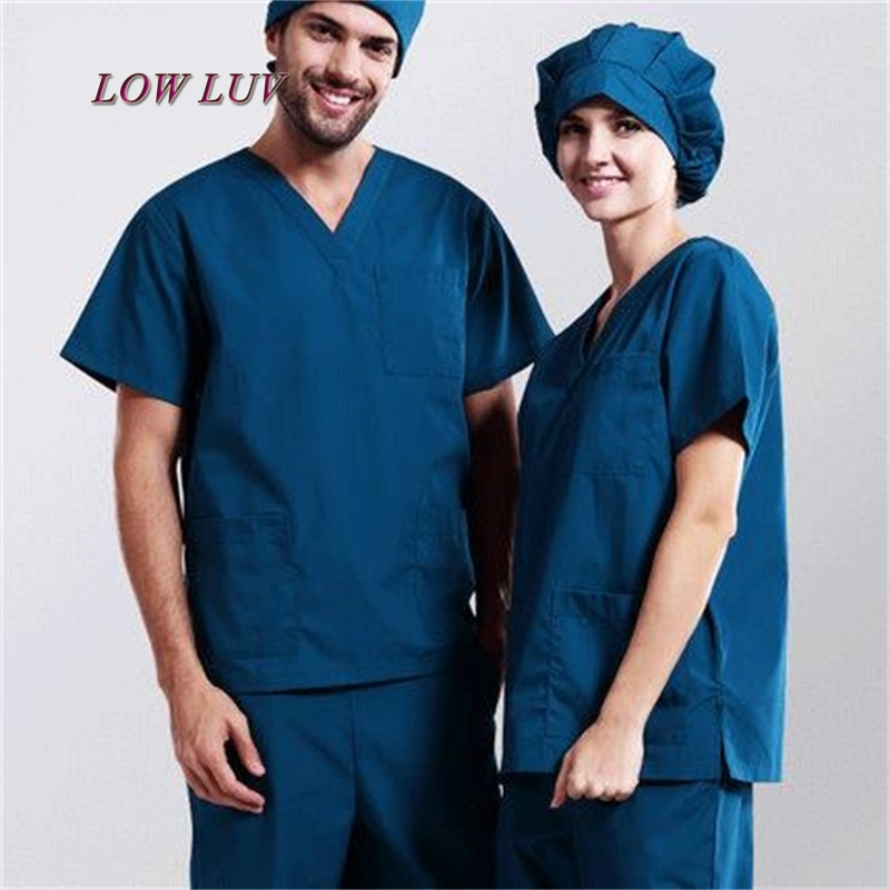 New Arrival!Hospital Doctor Nurse Woman&Man Short-sleeve Medical Clothing Surgical Isolation Medical Uniform Scrub Sets,zh005