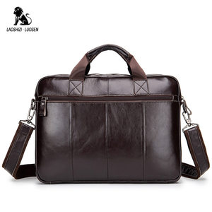 Image 3 - LAOSHIZI LUOSEN Genuine Leather Mens Briefcase Business Computer Bag Fashion Messenger Bags Man Shoulder Bag Male Handbags