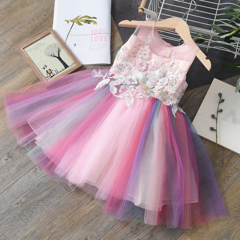Flower     Girls     Dress   Baby   Girl   Clothes Kids Princess Wedding Birthday Party Rainbow Tulle   Dresses  , Lace Vestidos Tutu   Dress   WT334