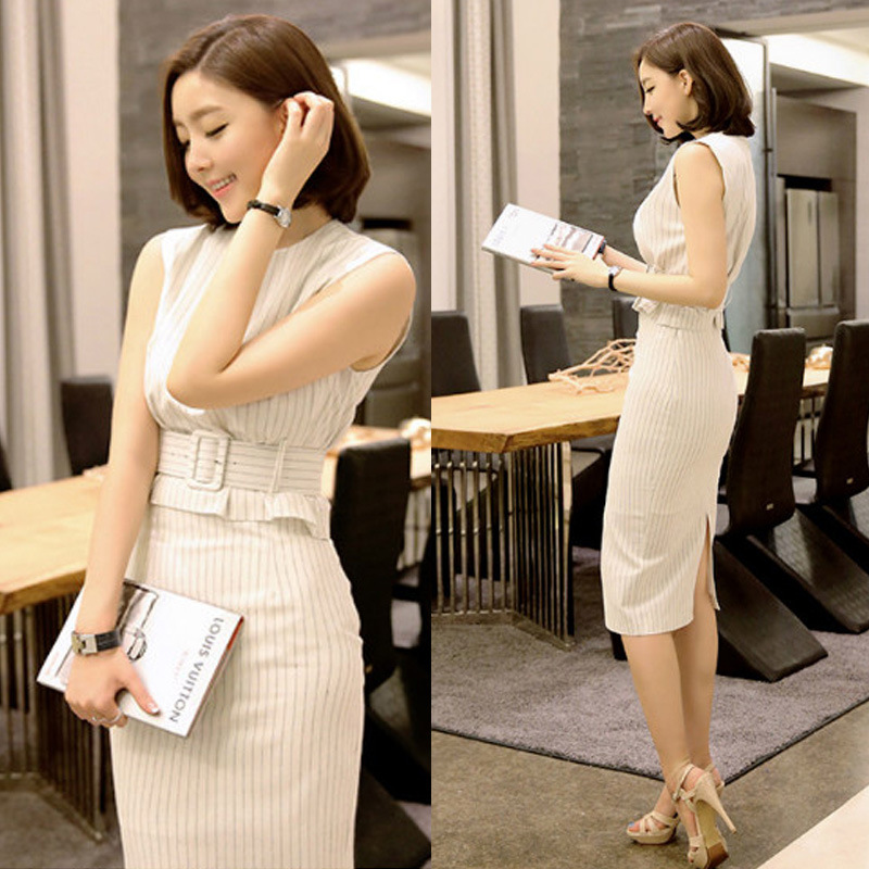 Professional suit womens new Korean celebrity two-piece OL striped dress stylish suit ...
